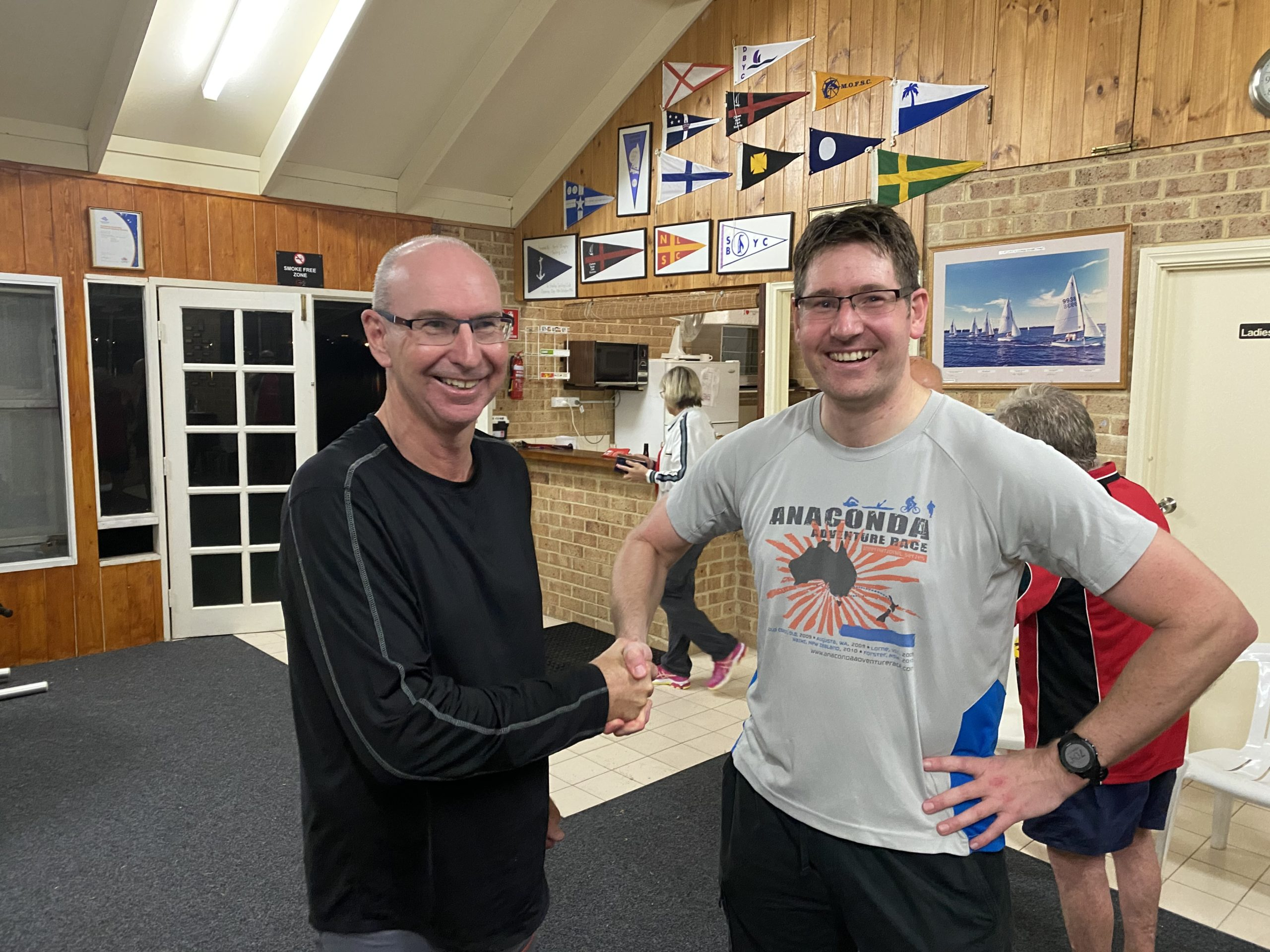 Tuesday 18th May 2021 : Tonight's photo shows club Treasurer David Urquhart presenting tonight's winner Peter Gigengack with a movie voucher.